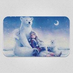 A Polar Bear Family and a Crescent Moon Night Blanket