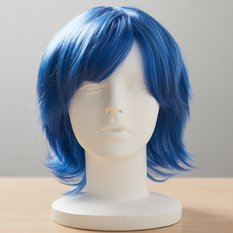 Short Cotton Smoke Blue Wig
