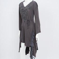 Rozen Kavalier Masquerade Print Irregular Hem Dress