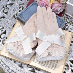 LIZ LISA Ribbon Suede Gloves