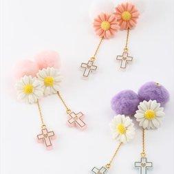 Honey Salon Cross & Daisy Earrings