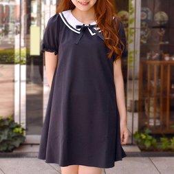 LIZ LISA Ribbon Line-Fleeced Dress