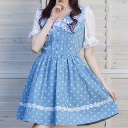 LIZ LISA Polka Dot Large Collar Jumper Skirt