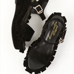 Honey Salon Frilly Sandals (Black)