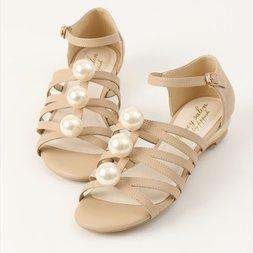 Honey Salon Big Pearl Sandals (Beige)