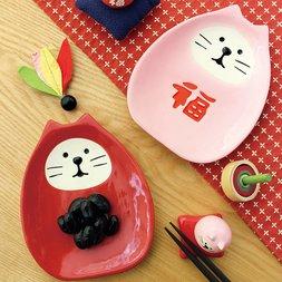 concombre Manekineko Daruma Small Plate