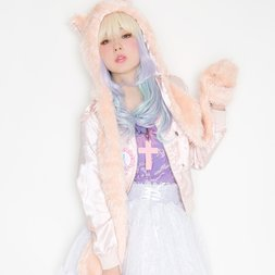 Lunatic Lemony Lollipop Cat Hooded Muffler (Sugar Pink)