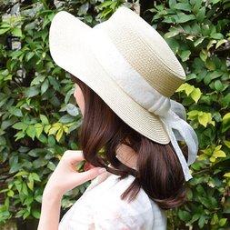 LIZ LISA Lace Ribbon Boater Hat
