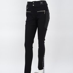 Rozen Kavalier Embroidered Feather Lace-up Pants