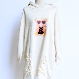 LIZ LISA Bear Print String Hoodie