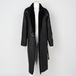 Rozen Kavalier Suede Sherpa-Lined Coat