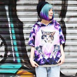 ACDC RAG Galaxy Cat Short Sleeve Hoodie