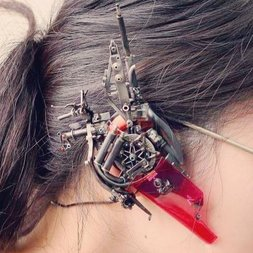 Red Cyberpunk Headphones