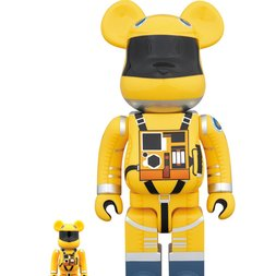 BE@RBRICK 2001: A Space Odyssey Space Suit Yellow Ver. 100% & 400% Set