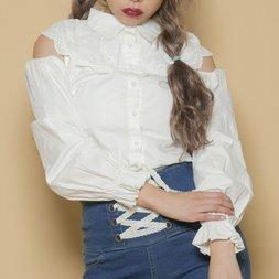 Swankiss Cotton Collared Blouse