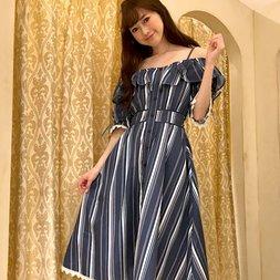 LIZ LISA Multi Stripe Cold Shoulder Dress