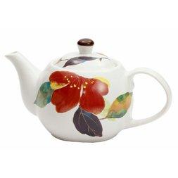 Hana Kairo Mino Ware Japanese Camellia Teapot
