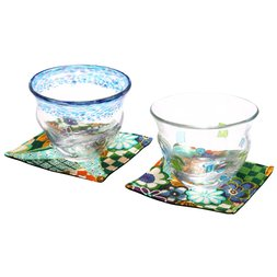 Hand-Blown Glass Cup & Coaster Set