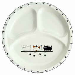 Three Cat Siblings Round Lunch Plate