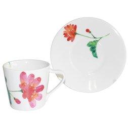 Hana Ichirin Mino Ware Japanese Anemone Mug & Plate