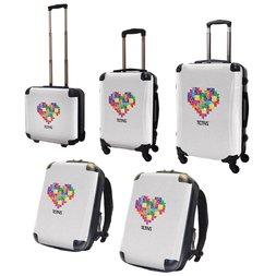 Tetris Art Suitcase & Rucksack Collection: Heart (White)