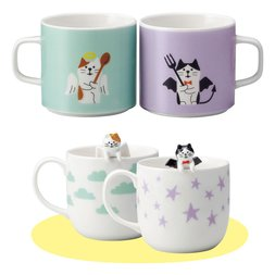 Concombre Angel & Devil Cat Ceramic Mug Pair Set