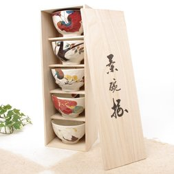 Hana Kairo Mino Ware Rice Bowl Set