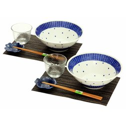 Mino Ware Polka Dot Somen Noodle Bowl Set