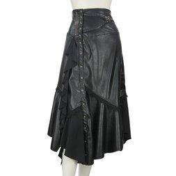 Rozen Kavalier Irregular Hem Faux Leather Skirt