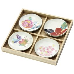 Mino-yaki seasons' flower plates
