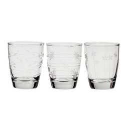 Flower Etched Glass Set A