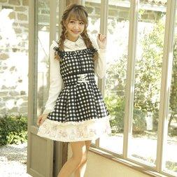 LIZ LISA Perfume Bottle Gingham Check Jumper Dress