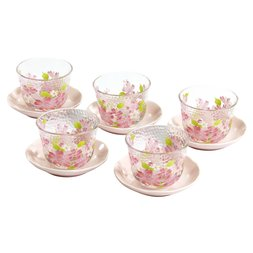 Hana Misato Mino Ware Glass Teacup & Saucer Set