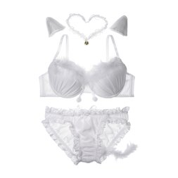 YUMMY MART White Cat Lingerie Set
