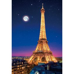 Beautiful Eiffel Tower in the Night of Paris Jigsaw Puzzle