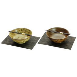 Mino Ware Wood Style Noodle Bowl Set