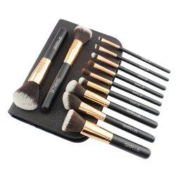 Six Plus Noble Gold Makeup Brush Set w/ Brown Makeup Pouch