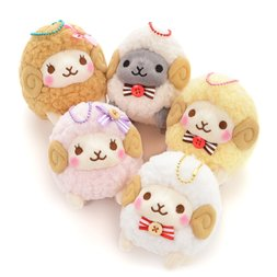 Fuwa-moko Natural Wooly Sheep Ball Chain Plush Collection