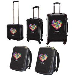 Tetris Art Suitcase & Rucksack Collection: Heart (Black)