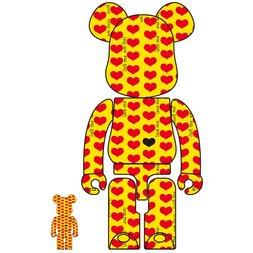BE@RBRICK Yellow Heart 100% & 400% Set