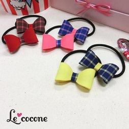 Le cocone Plain x Checkered Ribbon Hair Band Set