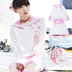 ACDC RAG Panda White x Pink Long Sleeve Sailor Top