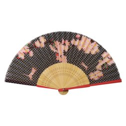Cherry Blossoms & Cat Folding Fan w/ Pouch