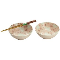Mino Ware Cherry Blossom & Rabbit Bowl Set