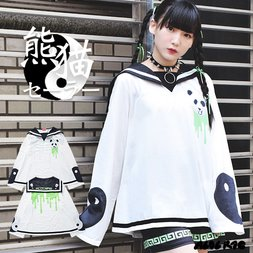 ACDC RAG Panda White x Green Long Sleeve Sailor Top