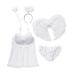YUMMY MART Angel White Lingerie Set