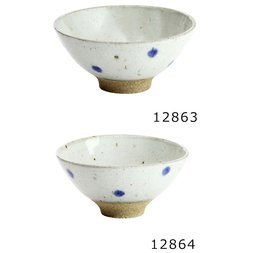 Elegant Mino Ware Green Dots Rice Bowls