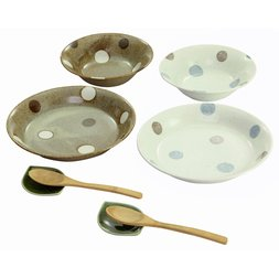 Elegant Polka Dot Mino Ware Curry & Salad Set