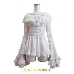 Atelier Pierrot Rose Off-Shoulder Shirring Blouse