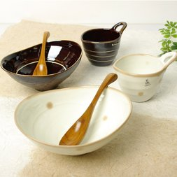 Elegant Ripple Mino Ware Curry Set